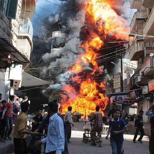 Roadside bomb blast & fire