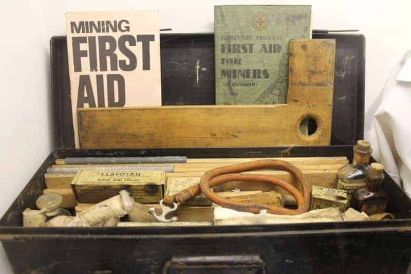Old first aid kit in a wooden box
