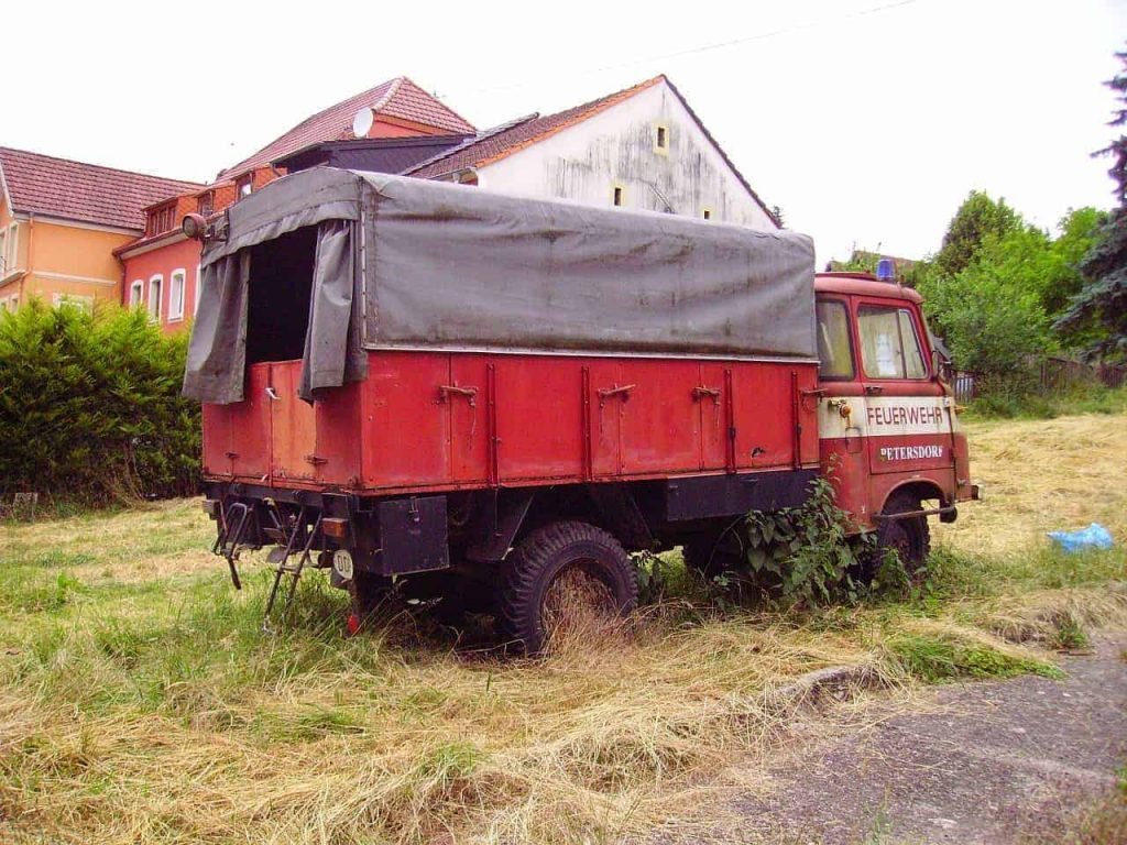 Evacuation Chair Servicing - Fire Safety Equipment - Image of an old scrap fire engine