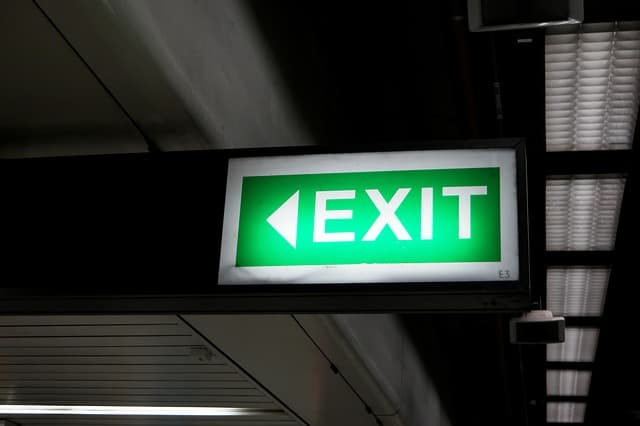 Just another day - a fire evacuation story. Emergency Exit Sign