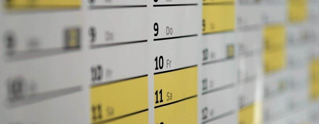 Image of a wall planner calendar