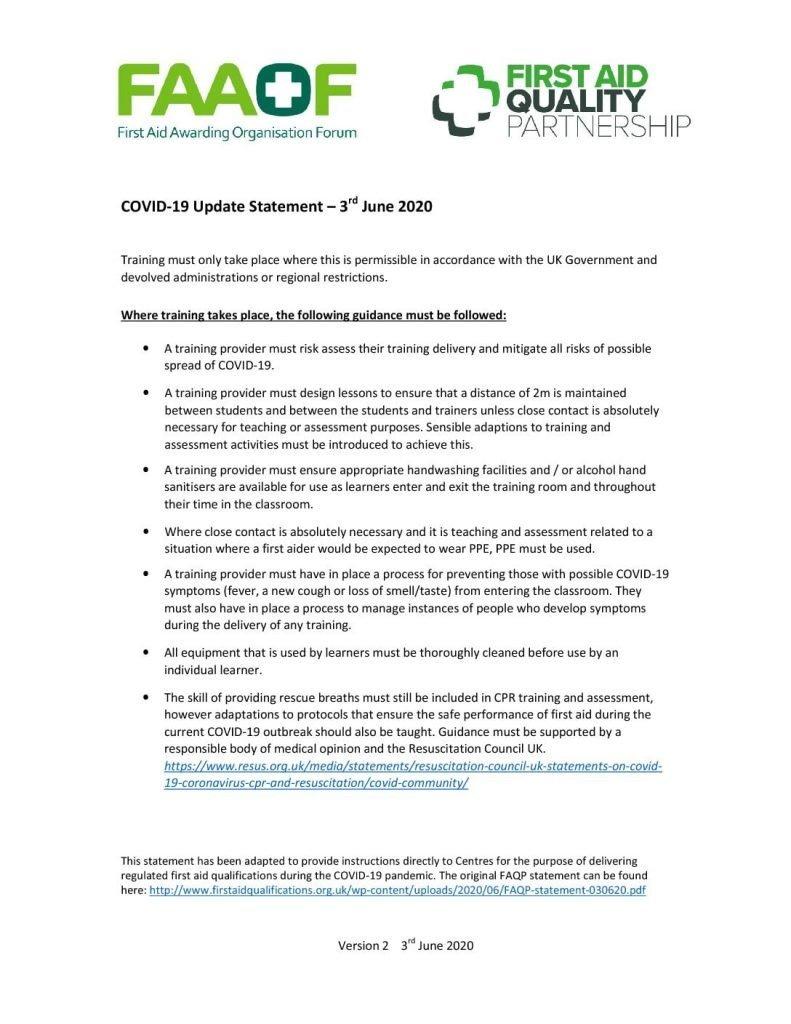 First Aid Awarding Organisation Forum statement regarding training during the Covid pandemic.