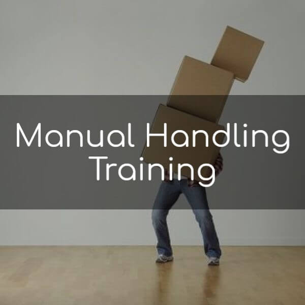 Manual handling training: Image of a man struggling to cary three large boxes
