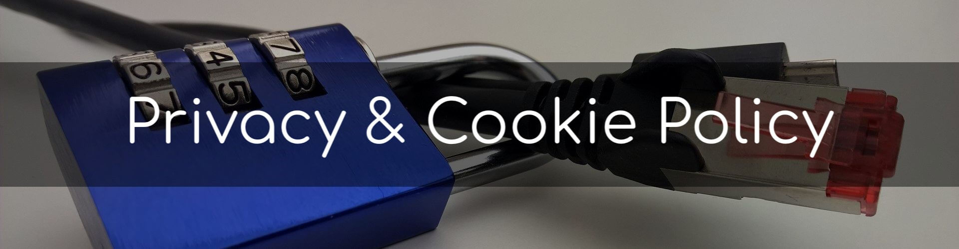 Privacy & Cookie Policy - Image of a combination padlock and an ethernet cable.