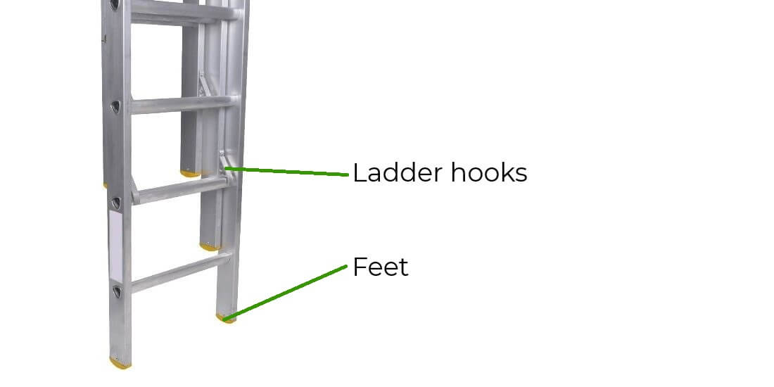 Base section of an extension ladder